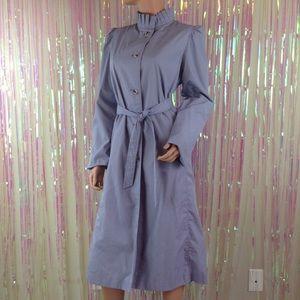 Vtg 80s ruffled purple trench coat long pastel